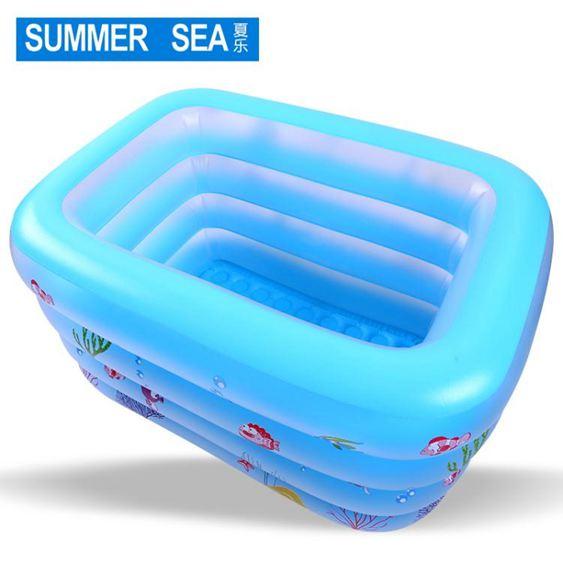 充氣泳池寶寶折疊家用新生兒童加厚充氣幼兒童游泳桶大號室內洗澡桶