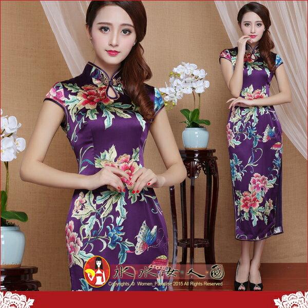 【水水女人國】~另人驚艷。藝術極品中國風~璀璨牡丹(紫)。華貴真蠶絲噴繪印花時尚修身小包袖中長旗袍