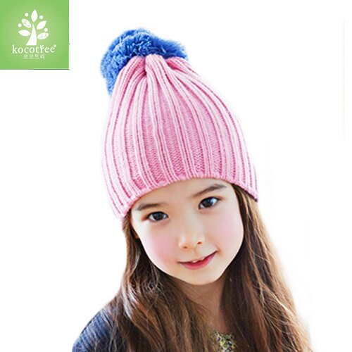 Kocotree◆ 秋冬簡約氣質純色糖果色立體大毛球兒童保暖毛線帽-淡粉