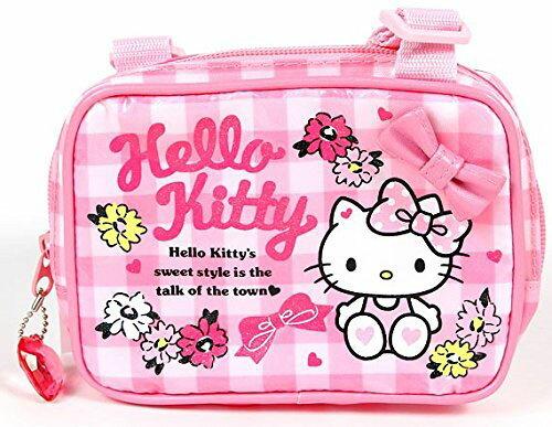 【真愛日本】15070100032防水方形側背包-格子小花粉  三麗鷗 Hello Kitty 凱蒂貓  肩背 正品