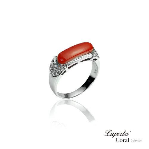 大東山珠寶 典藏 頂級深紅阿卡珊瑚真鑽14K白金戒指 0