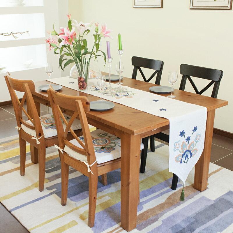 田園北歐鄉村風手工布藝 餐桌旗 桌布 鞋櫃蓋布 桌巾 歐式桌旗-植物花卉刺繡/單售