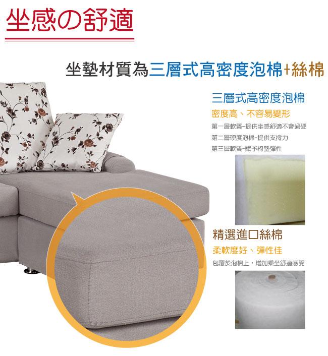 【綠家居】蘭西 時尚灰亞麻布L型沙發組合(三人座+腳椅)