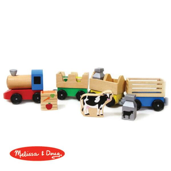美國瑪莉莎Melissa&Doug木製農場聯結火車【寶貝樂園】