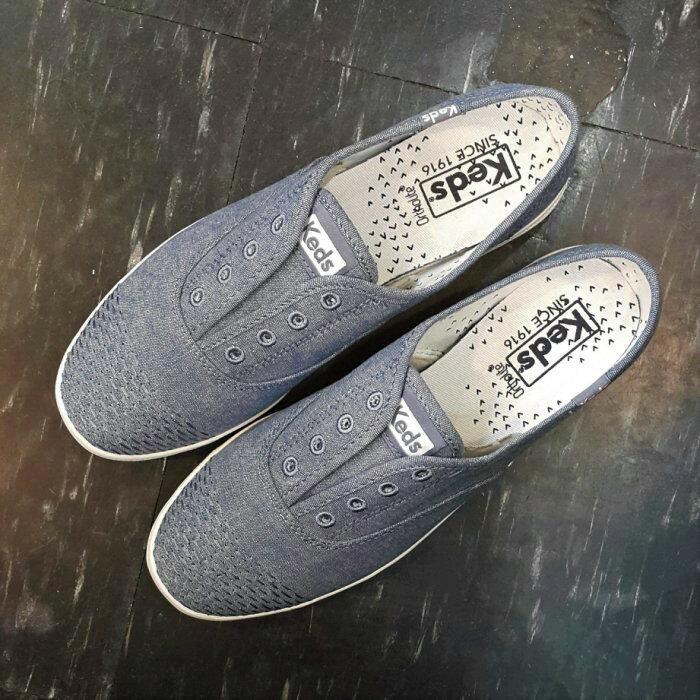 Keds 懶人鞋 藍色 灰藍色 類丹寧牛仔布 編織 刺繡 鞋頭編織 不用綁鞋帶 水洗 後跟可踩 Chambray 復古 舒適 柔軟 限時送購物背袋