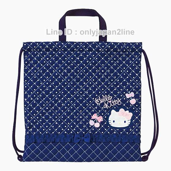 【真愛日本】16121600052日本製兩用手提後背束口背袋-櫻桃靛藍  三麗鷗Hello Kitty凱蒂貓  手提包 後背包