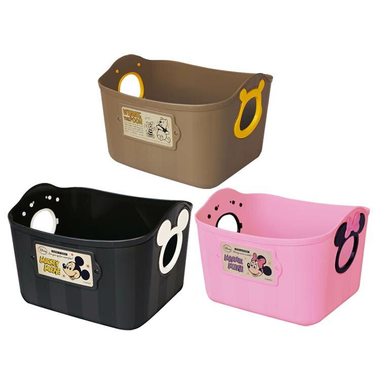 錦化成 米奇米妮維尼 黑色粉色咖啡色 手提籃 收納籃 小物籃 置物籃 共三款 日本進口正版 340280