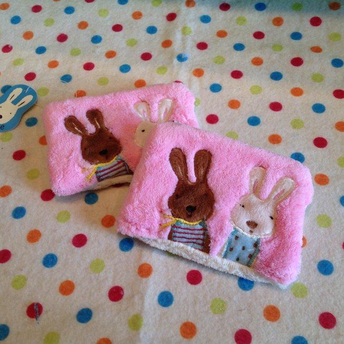 =優生活=法國兔 le sucre 砂糖兔粉色刺繡毛絨零錢包 證件包 收納包