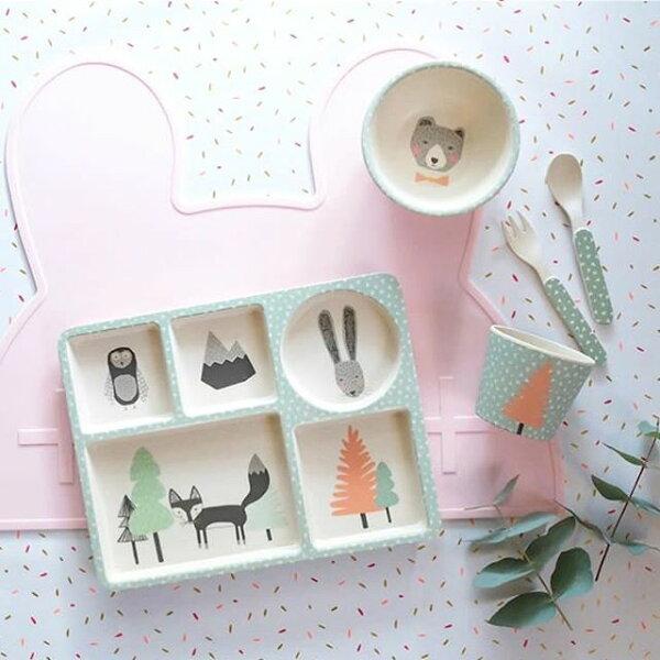 orin 原品設計:《LoveMae》New狐狸與朋友5件組-無毒竹製兒童餐具
