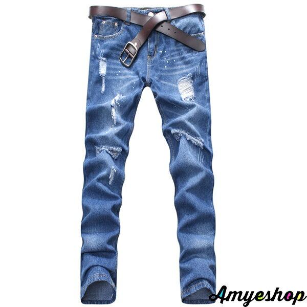 褲子.長褲.牛仔褲.窄管褲.個性褲款.情侶褲.刷色破壞牛仔褲【JK3844】艾咪E舖 2