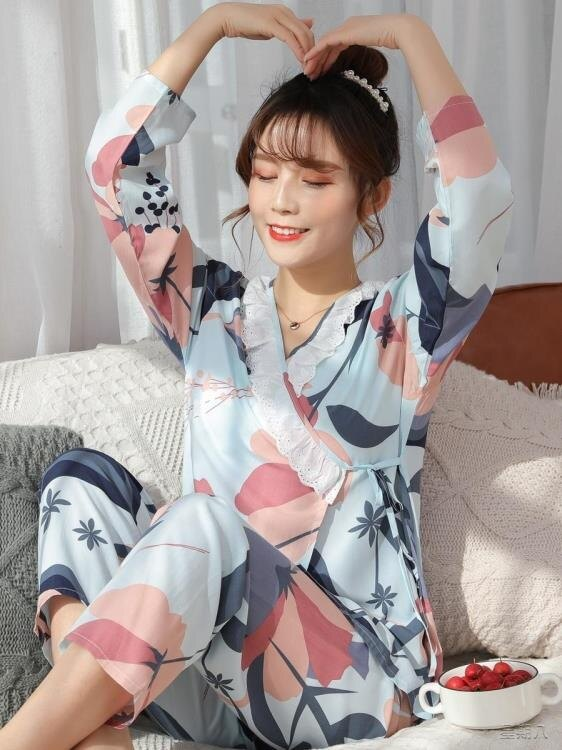 月子服 新款睡衣女綢長袖春秋季薄款套裝復古開衫月子服家居服可外穿