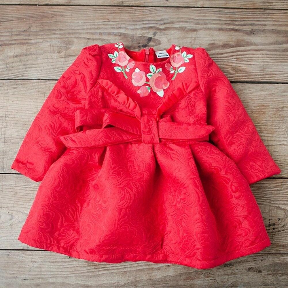 ✤宜家✤時尚可愛中國風寶寶加絨連衣裙 喜氣洋裝 兒童過年服裝 禮服