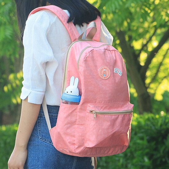 <br/><br/>  ?MY COLOR? 卡通粉嫩色系後背包 收納 整理 行李 登機 出差 出遊 上課 學生 郊遊【N268】<br/><br/>