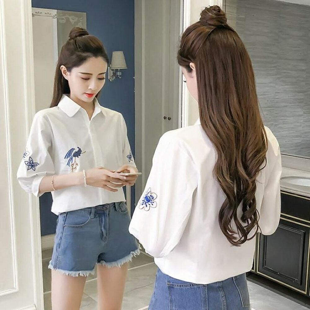 襯衫女新款刺繡花鳥民族風寬松顯瘦小清新短袖純棉白襯衣 錢夫人小鋪