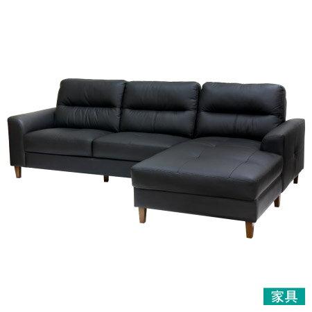 ◎半皮左躺椅L型沙發 OSLO BK NITORI宜得利家居