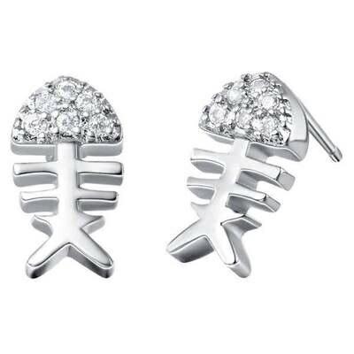 ~純銀耳環鍍白金鑲鑽耳飾~ 可愛女孩魚骨頭生日情人節 女飾品73cz26~ ~~米蘭 ~