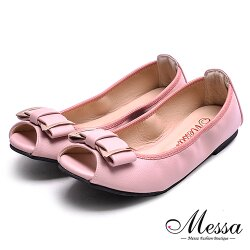 【Messa米莎專櫃女鞋】MIT柔軟彎曲蝴蝶結內真皮平底魚口鞋-粉紅色