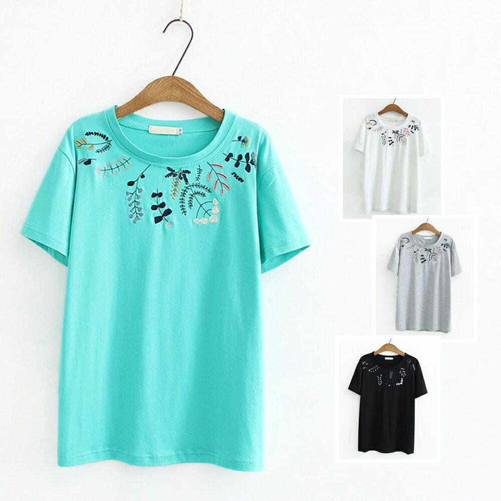 *ORead*日系彈力棉刺繡圓領套頭短袖T恤上衣(4色XL~4XL)