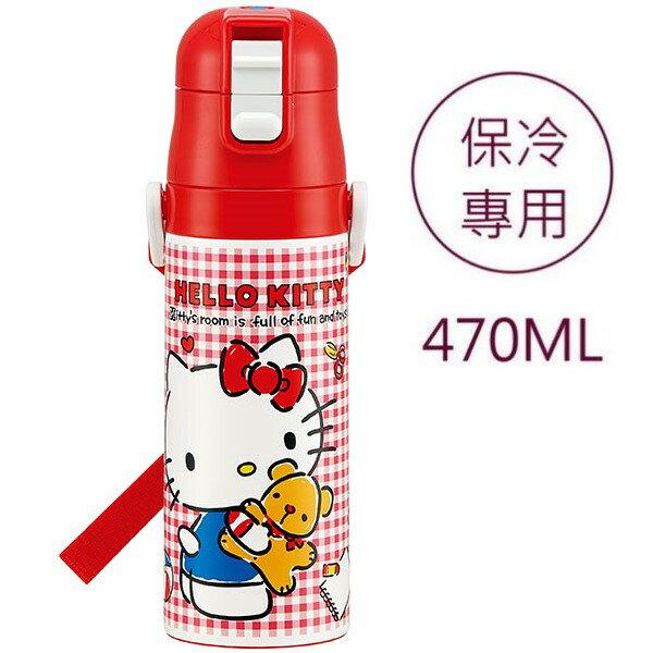 asdfkitty可愛家☆KITTY紅格小熊真空不鏽鋼超輕量保冷水壺-470ML-附背帶-SDC4-日本正版商品