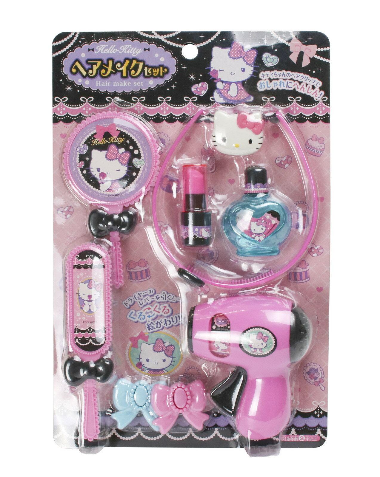 【真愛日本】17071100005 化妝玩具-KT蝴蝶結法飾紫 三麗鷗kitty凱蒂貓 吹風機梳子鏡子指甲油玩具組