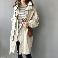 風衣外套推薦到1件就免運-韓系 女裝 休閒chic連帽風衣中長款外套/ 樂天時尚館。預購就在樂天時尚館推薦風衣外套