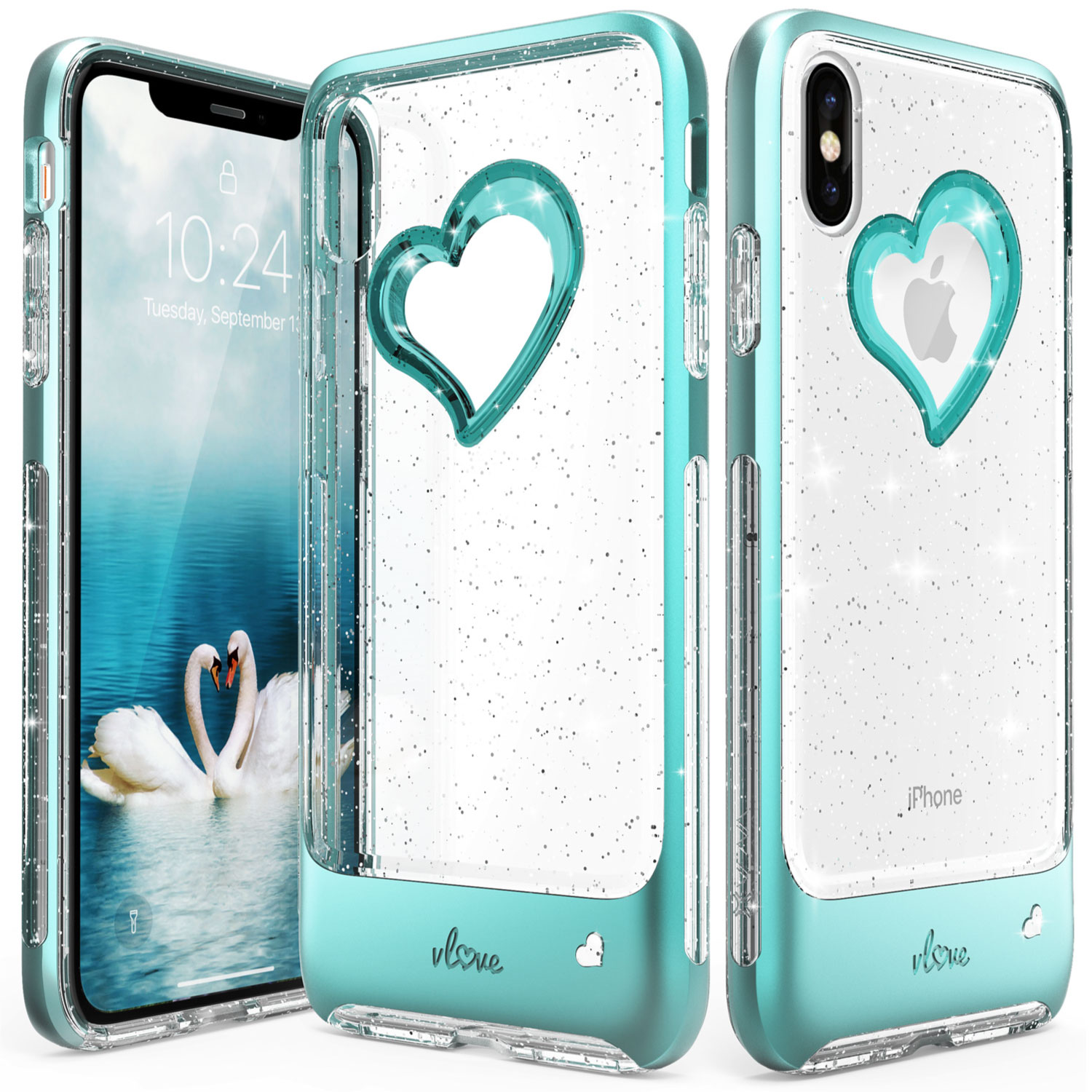 clear glittery iphone xs case