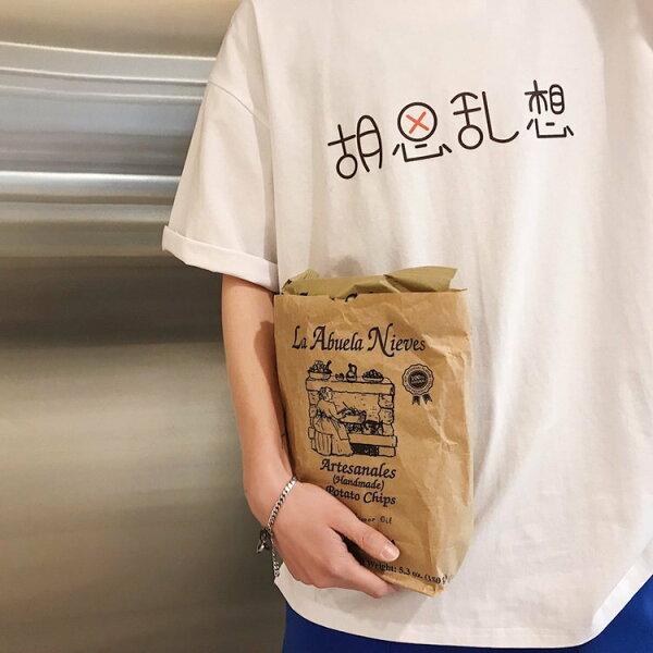 FINDSENSEG6韓國時尚文藝風胡思亂想短袖T恤休閒寬鬆純色百搭文字上衣