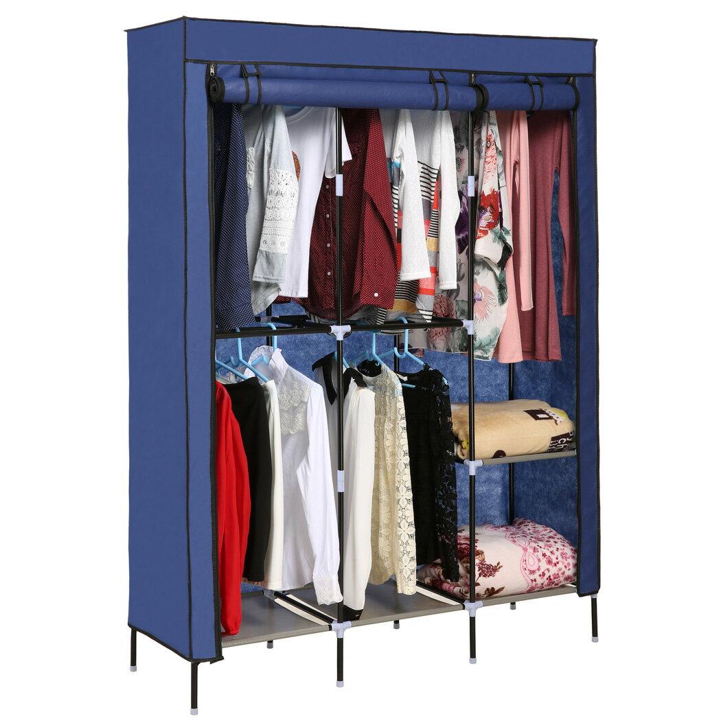 Portable Clothes Closet Wardrobe Double Rod Closet Storage Organizer 1