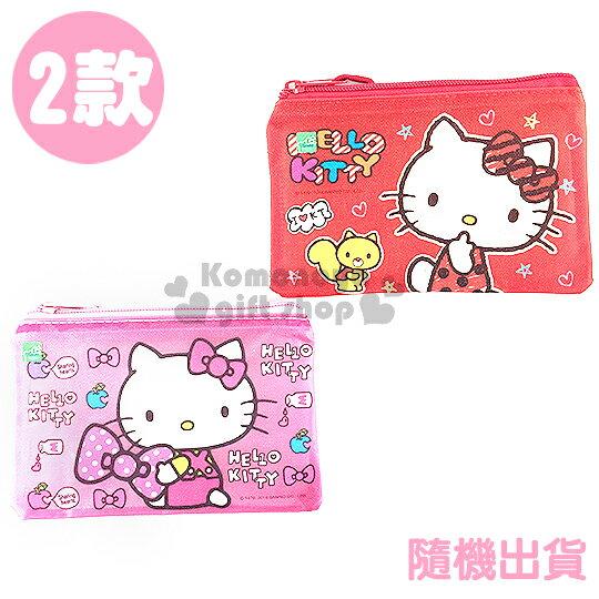 〔小禮堂〕Kitty 單層文件資料袋《小.2款.隨機出貨.松鼠/蝴蝶結》網狀透明拉鍊袋