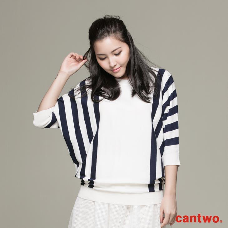 cantwo條紋落肩袖上衣(共二色) 0