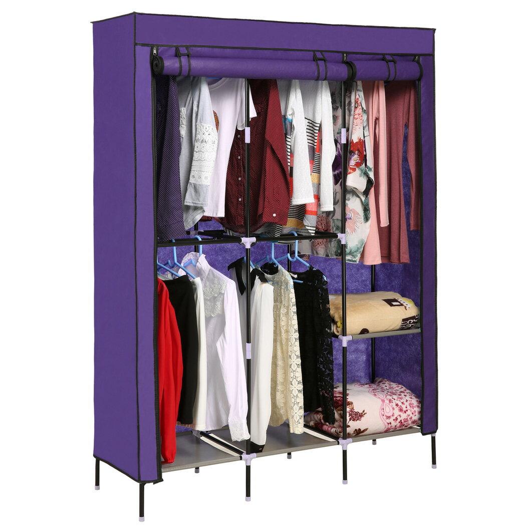 Portable Clothes Closet Wardrobe Double Rod Closet Storage Organizer 3