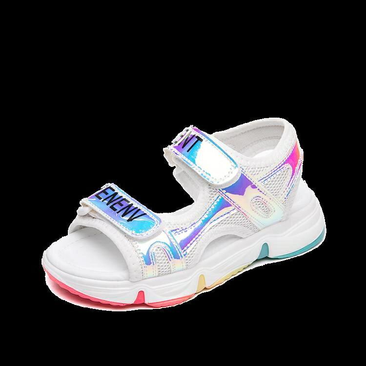 女童涼鞋 女童涼鞋新款夏季彩虹底運動涼鞋兒童中大童時尚女孩軟底 愛尚優品