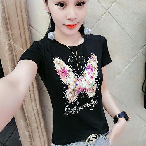 *ORead*圓領燙鑽短袖T恤(2色S~3XL)