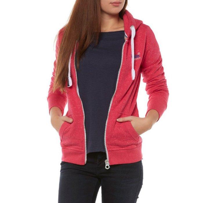 美國百分百【全新真品】Superdry 極度乾燥 棉質 連帽 外套 橘標 刷毛 雪花 櫻桃紅 女 XS號 H818