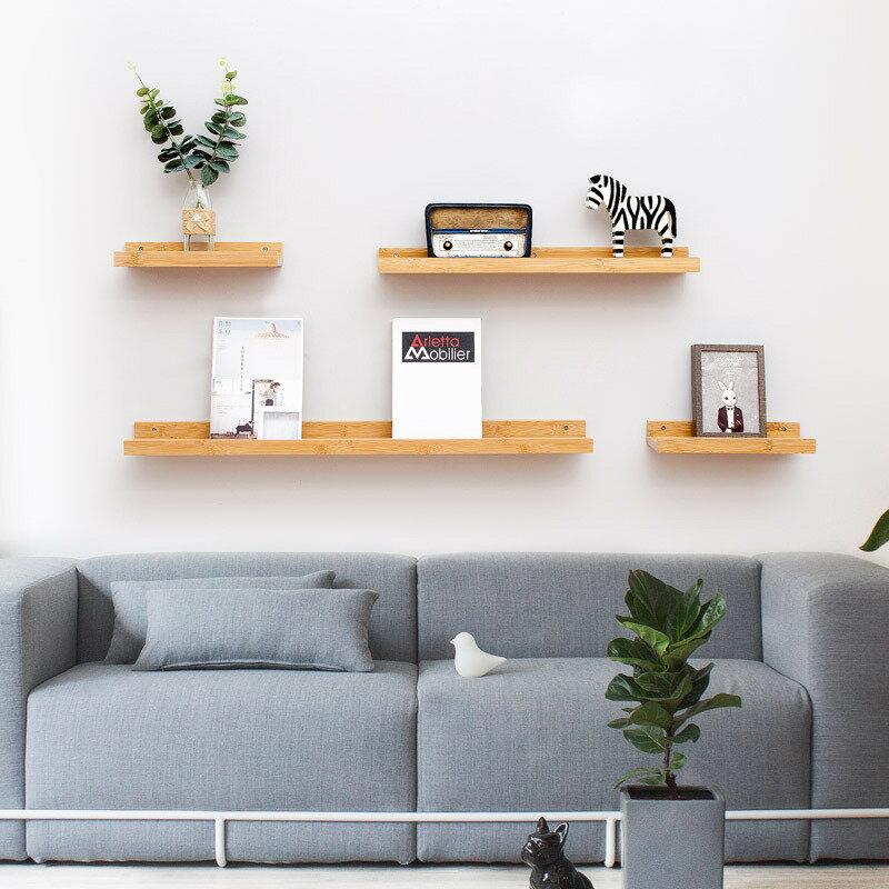 牆上置物架裝飾品架子牆壁裝飾鑰匙收納小物收納房間隔板-白  黑  木【AAA5566】