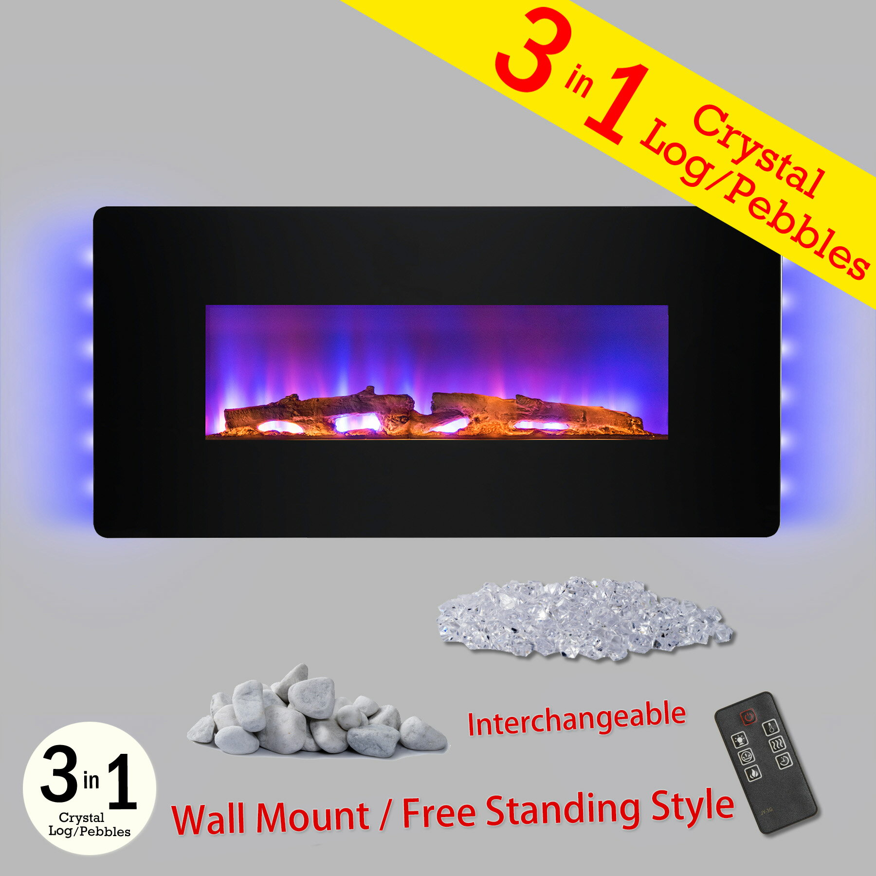"AKDY 48"" Wall Mount Freestanding Convertible Electric Fireplace Heater w/ 3-in-1 Fuel Bed Remote Control 0"