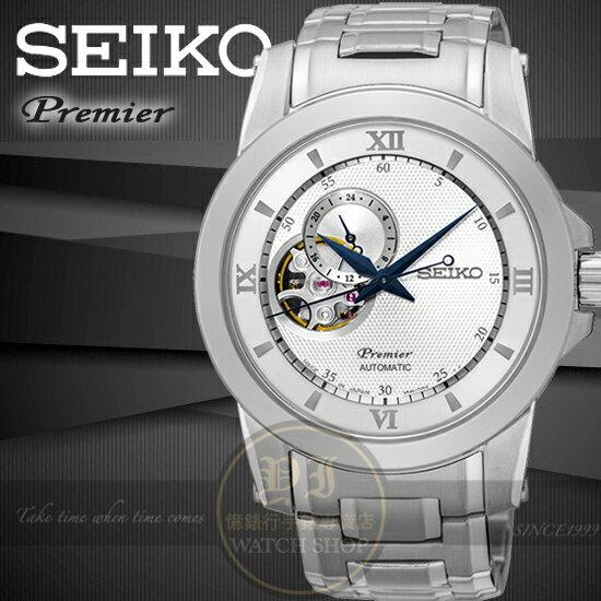SEIKO 精工Premier開芯系列24小時顯示鏤空機械腕錶4R39~00P0S  SS