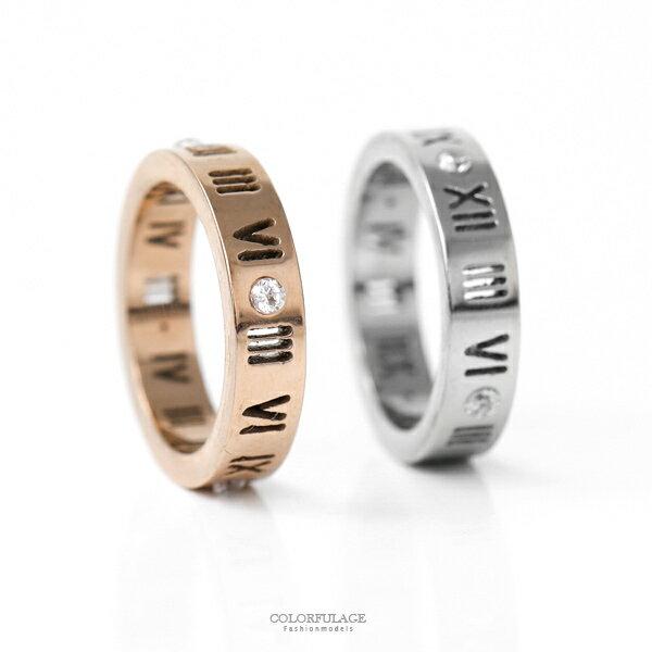 戒指鋼製鏤空羅馬數字水鑽尾戒【NC208】造型單品