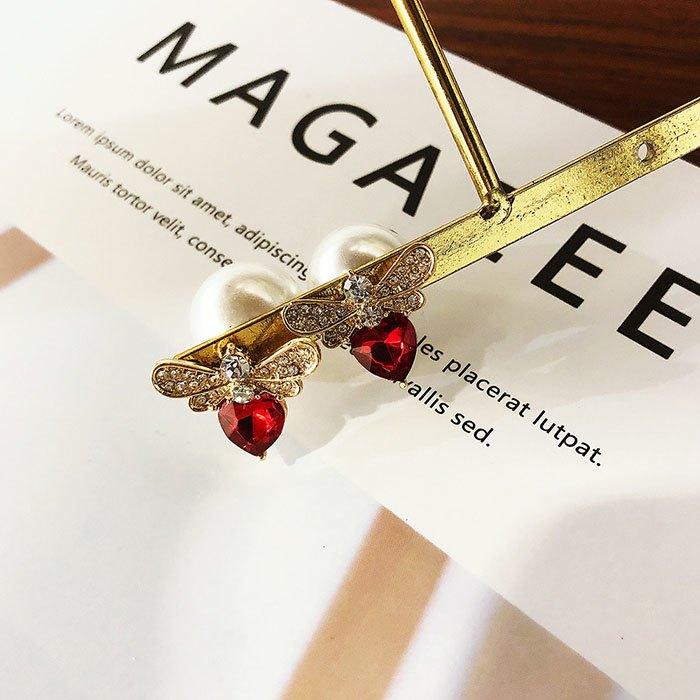 耳環 個性 愛心 鑲鑽 珍珠 甜美 氣質 雙面 耳釘 耳環【DD1812021】 BOBI  03 / 07 8