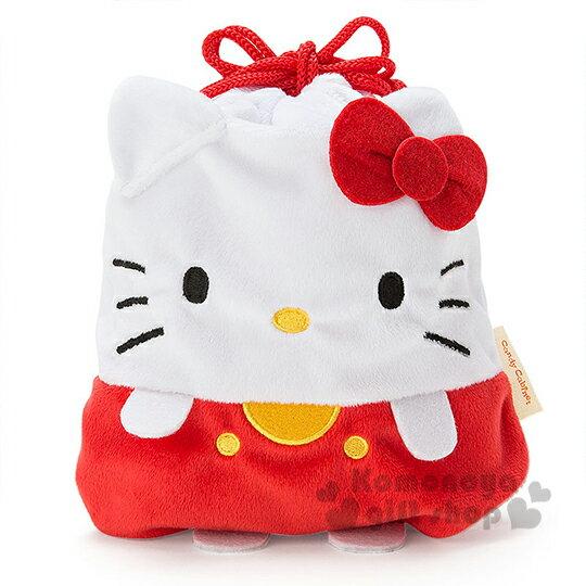 〔小禮堂〕Hello Kitty 絨毛束口袋~紅白.站姿.吊帶褲~冬日聖誕限定系列
