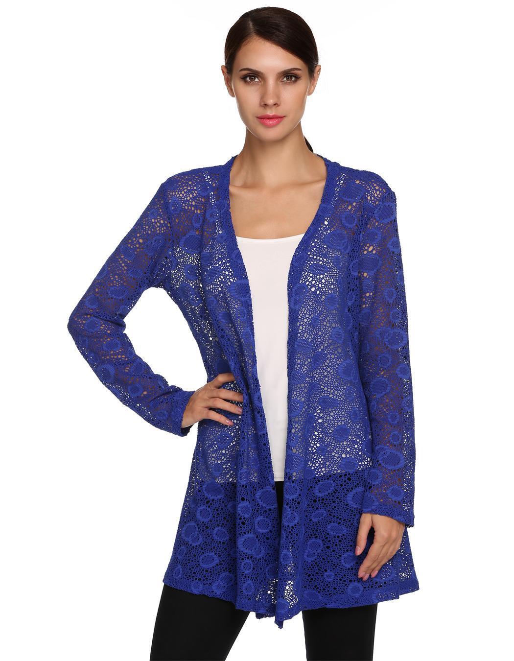 Women Long Sleeve Hollow Out Crochet Long Cardigan Tops 3