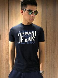 美國百分百【全新真品】ArmaniJeans短袖AJT恤老鷹logoT-shirt深藍J061