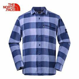 [THENORTHFACE]男風格格紋長襯衫藍公司貨NF0A3LAB6YK