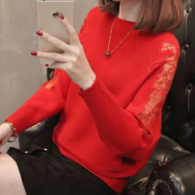 針織毛衣一字領打底衫-時尚鏤空蕾絲蝙蝠袖女罩衫6色73tp11【獨家進口】【米蘭精品】