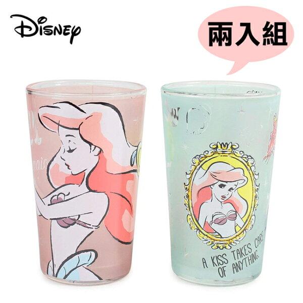 自訂貨號【日本正版】兩入組小美人魚玻璃水杯玻璃杯240ml愛麗兒Ariel迪士尼Disney-057498