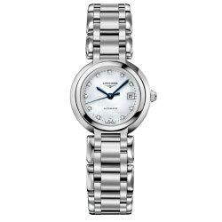 LONGINES 浪琴L81114876 優雅羅馬真鑽新月機械腕錶/珍珠母貝面26.5mm