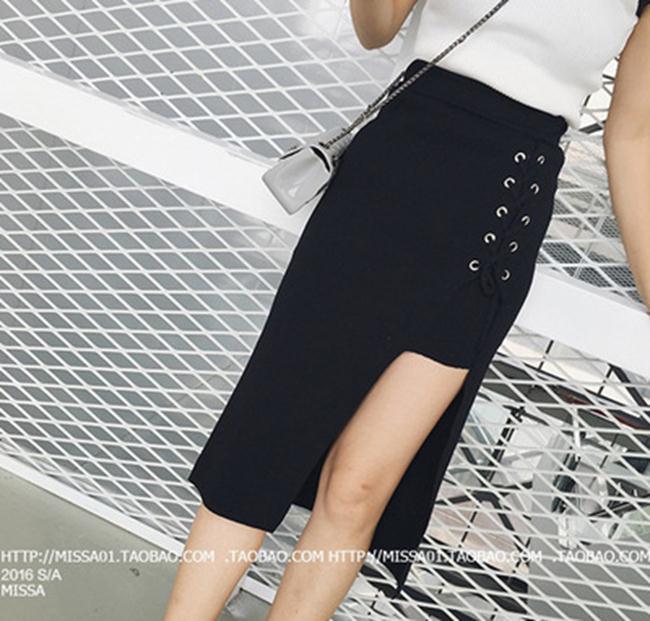 50^%OFF~G022259S~彈力高腰系帶開叉半身裙修身針織包臀裙中長裙