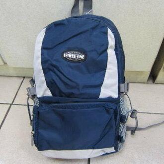 ~雪黛屋~POWERONE BAG 電腦後背包 可放小型尺吋筆電 防水尼龍布材質外出上學萬用包33-839深藍