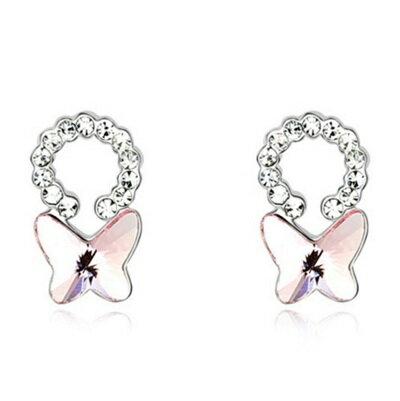~水晶耳環 925純銀耳飾~蝴蝶精緻鑲鑽 女飾品6色73bd26~ ~~米蘭 ~