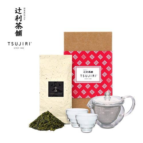 【辻利茶舗 x HARIO】辻光茶道具禮盒 (晝旋) 茶茶急須丸形茶壺30ml+耐熱湯吞小茶杯2入+小倉煎茶茶葉100g 1入。 0